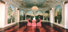 Dining Room at Castelo Bom Jesus, with frescoes depicting a Brazilian landscape and gardens.Leading hotels of the world, small luxury hotels, Luxurious Villa Ilios, Castelo Bom Jesus, ArmilarWorld.